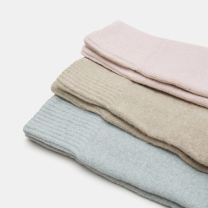 TWO PAIR RIBBED BOOT SOCKS FOR WOMEN IN PINK/GREY