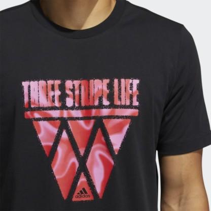 THREE STRIPE LIFE HOOPS GRAPHIC TEE